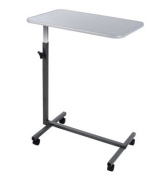 NEW Hospital Tilt Table Top Stand Rolling Over Bed For Food Tray Laptop - Grey