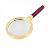 Rosallini 80mm Diameter 15X Optical Lens Rosewood Handle Gold Tone Magnifying Glass