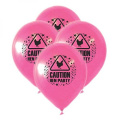 Hen Night Party Balloons With Caution Hen Party Theme - Pink Balloons - (Pack Contains 15 Balloons) - Ideal Party Accessory Decoration For Hen Parties