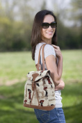 Signare Fashion Canvas /Small Flap Buckle Canvas Rucksack/Fashion Bag/ Backpack in Graceful Miss London Design
