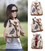 Signare Fashion Canvas /Small Flap Buckle Canvas Rucksack/Fashion Bag/ Backpack in Butterfly Design