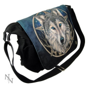 LISA PARKER WILD ONE PENTAGRAM WOLF GYM UNI SCHOOL MESSENGER BAG GOTHIC NOW8151