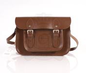 28cm Chestnut Brown Real Leather Oxbridge Satchel - Classic Retro Fashion laptop / school bag