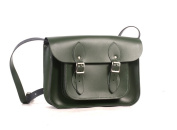 28cm British Racing Green Real Leather Satchel - Classic Retro Fashion laptop / school bag
