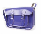 28cm Patent Purple Real Leather Satchel - Classic Retro Fashion laptop / school bag