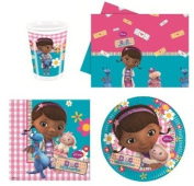 Doc McStuffins Party Tableware set for 8 guests including cups, plates, napkins and tablecover