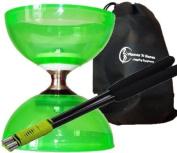 "Diabolo Cyclone ""Quartz"" Set (Green)- Triple Bearing Clutch Diabolos With Carbon Hand Sticks, Diablo String & Flames N Games Fabric Travel Bag!"