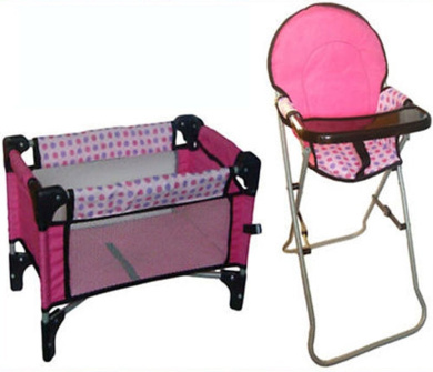 Pink Dolls SET OF Deluxe Feeding High Chair And Folding Travel Cot Girls To