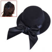 Ladies Mini Top Hat Fascinator Burlesque Millinery w/ Bowknot - Black