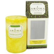 Aroma Naturals Orange and Lemongrass Essential Oil Yellow Scented Pillar Candle, Ambiance