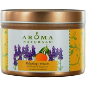 Relaxing Aromatherapy Tin Soy Aromatherapy Candle. Combines The Essential Oils Of Lavender And Tangerine To Create A Fragrance That Reduces Stress. 6.4cm x 4.4cm 15 hrs