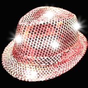 LED Sequin Fedora Hat - Light-up Hat - Pink