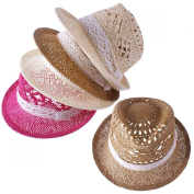YOUGLE Fashion Girl Lady Straw Hat Fedora Hat Party Hat Jazz hat Sun Hat 4Colors.