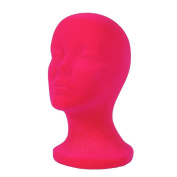 A1Pacific 28cm PINK Velvet STYROFOAM FOAM MANNEQUIN MANIKIN head wig display hat glasses