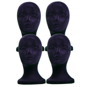4PCs A1Pacific 28cm BLACK Velvet STYROFOAM FOAM MANNEQUIN MANIKIN head wig display hat glasses