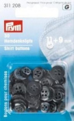 PRYM 311208 Shirt buttons anthracite Size 11 mm + 9 mm, 30 pieces