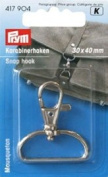 PRYM 417904 Snap hook Size 30x40mm metal silver-coloured, 1 piece