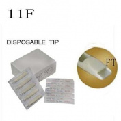50mm 11F X50pcs TATTOO DISPOSABLE TUBE TIPS White