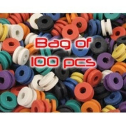 100 Colourful Rubber Tattoo Grommets