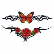 Glitter Butterfly and Roses Temporary Tattoo Body Art