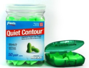 Uniquely curved for a comfortable fit - Flents Contour Ear Plugs - Soft Comfort! 50 Pair with Flents Green Ear Plug Case