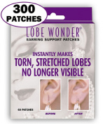 300 Invisible Earring Ear-Lobe Support Patches - Provides Relief for Damaged, Streched Ear-Lobes and Helps Protect Healthy Ear Lobes Against Tearing