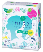 Kao Laurier KIREI-Style Panty Liners 100% Natural Cotton - 52 pads