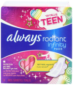 Always Totally Teen Always Radiant Infinity Pads, 14 Count