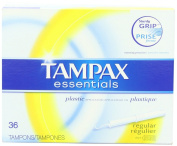 Tampax Essentials Plastic Applicator Regular Absorbency, Unscented Tampons 36 Count