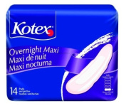 Kotex Overnight Maxi Pads Units Per Pack 14 KBC01400