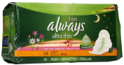 Always Ultra Thin Pads Overnight with Wings, Fresh Scent-24 ct