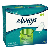 Always Infinity Heavy With Wings, Unscented Pads 64 Count