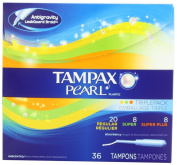 Tampax Pearl Plastic Triple Pack, Regular/Super/Super Plus Absorbency, Unscented Tampons, 36 Count