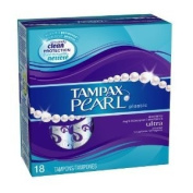 Tampax Pearl Plastic, Ultra Absorbency, Unscented Tampons 18-Count