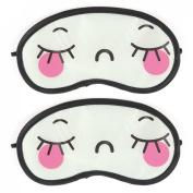 Rosallini Elastic Band Pink Cartoon Eyes Pattern Travel Nylon Eye Mask Sleeping Eyeshade 2 Pcs