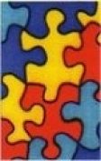 Childrens Bright Jigsaw Puzzle Colourful Ribbon Used by Autism Society x 2 Yards