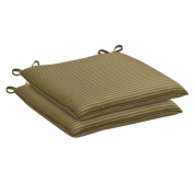 2-Piece Outdoor Seat Pad/Dining/Bistro Cushion Set - Green Plaid