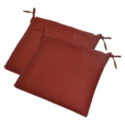 2-Piece Outdoor Rectangle Seat Pad Set - Red Woven