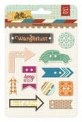 Carte Postale Self-Adhesive Die-Cut Chipboard Buttons-