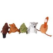 Five Australia Unique Animals Finger puppets--Koala,Kangaroo,Platypus,Ostrich,Crocodile