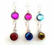 6 pcs Adorable Round Faceted Crystal Zipper Pulls / Zip pull Charms for Jacket Backpack Bag Pendant