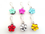 6 pcs Crystal Flowers Zipper Pull / Zip pull Charms for Jacket Backpack Bag Pendant