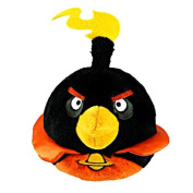 ANGRY BIRDS SPACE OFFICIAL 15cm DELUXE PLUSH FIRE BOMB BIRD BLACK SOFT TOY NEW