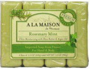 A La Maison de Provence Bar Soap for Hand & Body, Rosemary Mint, 100ml, 4 Ct