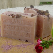 Limted Edition Large Aged Soap- Egyptian Geranium with French Rose Clay- Cocoa Butter and Crushed Flowers Soap