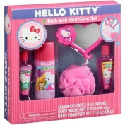 Hello Kitty Bath and Hair Care Set, Includes Bath Foam, Shampoo, Body Wash, Tub Mirror with Suction & Pouffe, Cotton Candy Scented
