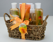 Mango Pear Spa Gift Set Woven Antique Basket,Shower Gel, Bubble bath,Bath Salt,Body Lotion, Body Spray, Bath Fizzer