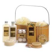 Spicy Warm Vanilla Spa Bath Body Bamboo Gift Basket