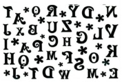 Black and White 26 Letters of the Alphabet Temporary Tattoo