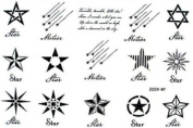 The Black-and-white Star Shape Totem Tattoo Stickers